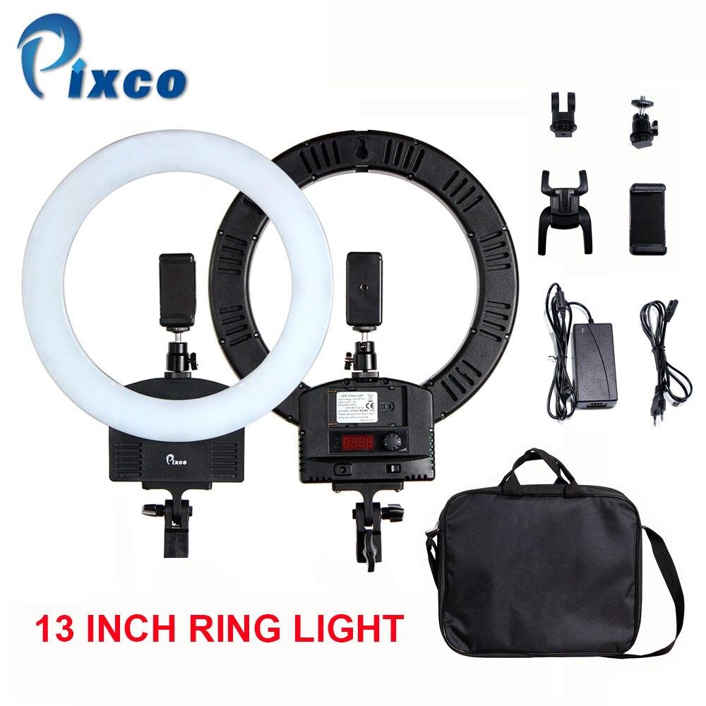 Pixco 13 Inch 240 Beads Bi-Color LED Ring Light Adjustable color For Smartphone Portrait Makeup YouTube Video Live Stream