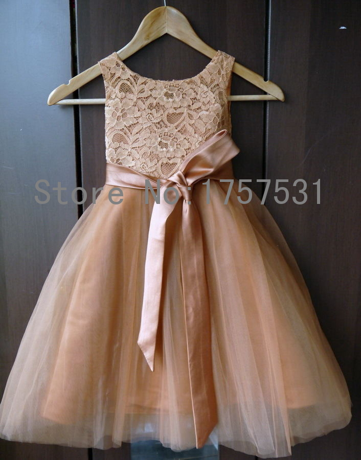 Champagne lace tulle tutu flower girl dresses for wedding for Wedding dress for girl