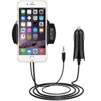 MPOW 3-in-1 Bluetooth רדיו משדר FM + אוויר Vent הר מחזיק טלפון, ערכת רכב מטען לרכב w/3.5 מ