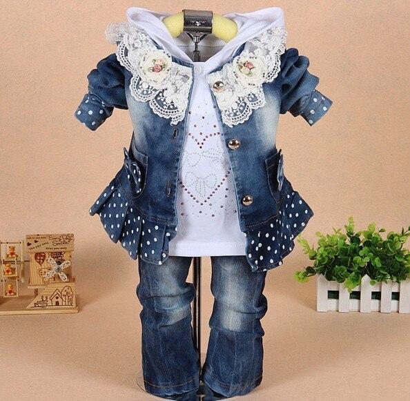 Новый 2016 осень девушки высокое качество джинсовая куртка одежда наборы 3 шт. девочка джинсовой кружева цветок одежда устанавливает детская одежда наборы