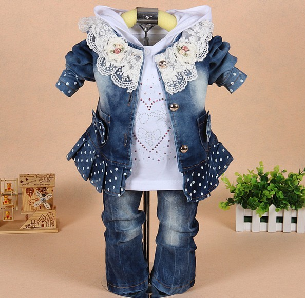 new 2016 autumn girls high quality denim jacket clothing sets 3pc baby girl denim lace flower clothes sets kids clothes sets
