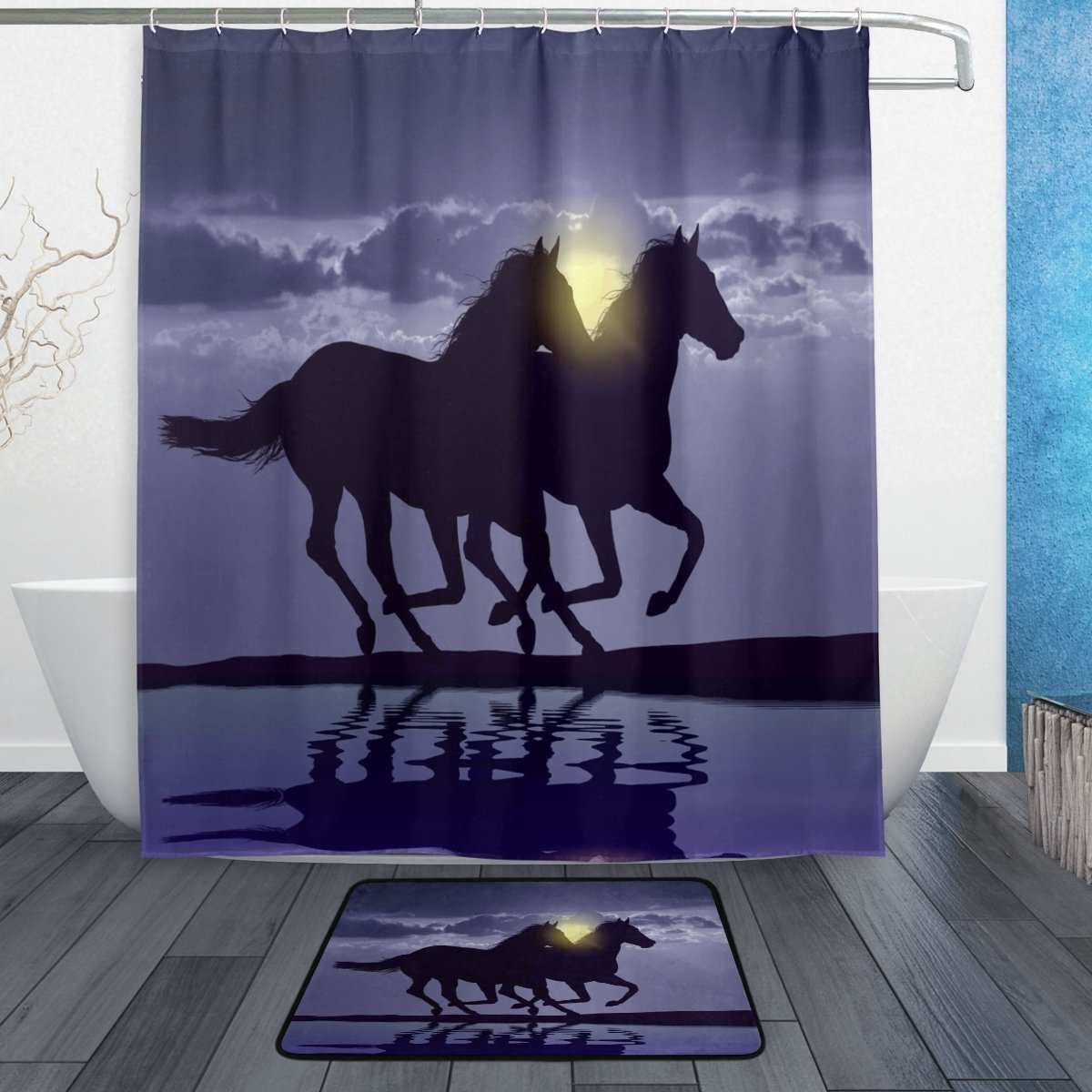 Horse Running at Sunset Waterproof Polyester Fabric Shower Curtain with Hooks Doormat Bath Floor Mat Bathroom Home Decor