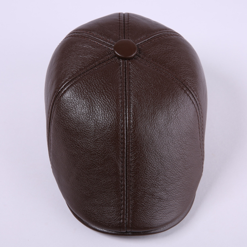 New Arrival Winter Leather Hat Men 100% Genuine Leather Peaked Cap Male Elderly Winter Warm Cap Thickening Hat 4 Colors B-7188 winter genuine leather baseball caps men golf peaked dome hats male adjustable ear warm casquette leisure peaked cap b 7209