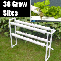 Plastic Hydroponic Grow Kit 220V 36 Sites 4 Pipes 2 Layer Garden Plant Vegetable Tools Box Nursery Pots Rack Garden Supplies