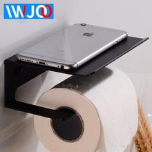 Bathroom Toilet Paper Holder with Shelf Black Aluminum Tissue Roll Paper Holder Decorative Paper Towel Holder Rack Wall Mounted