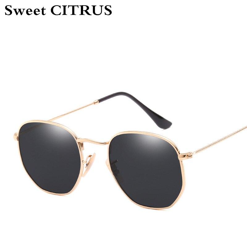 Dulce Citrus hexagonal aviación espejo lente plana Gafas de sol hombres marca diseñador vintage rosa conducción Sol Gafas mujeres