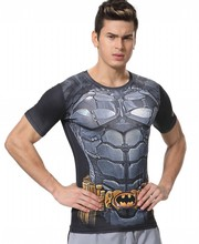Red Plume Men's Compression Tight Fitness Shirt,  Superman Batman Armor Sports T-shirt