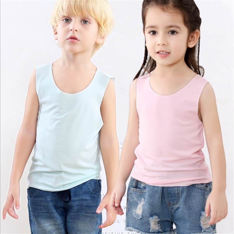 2-14Y Kids Summer Vests Solid T-shirts Children Modal Cotton Singlet for Kids Boys and Girls Primer shirt(China)