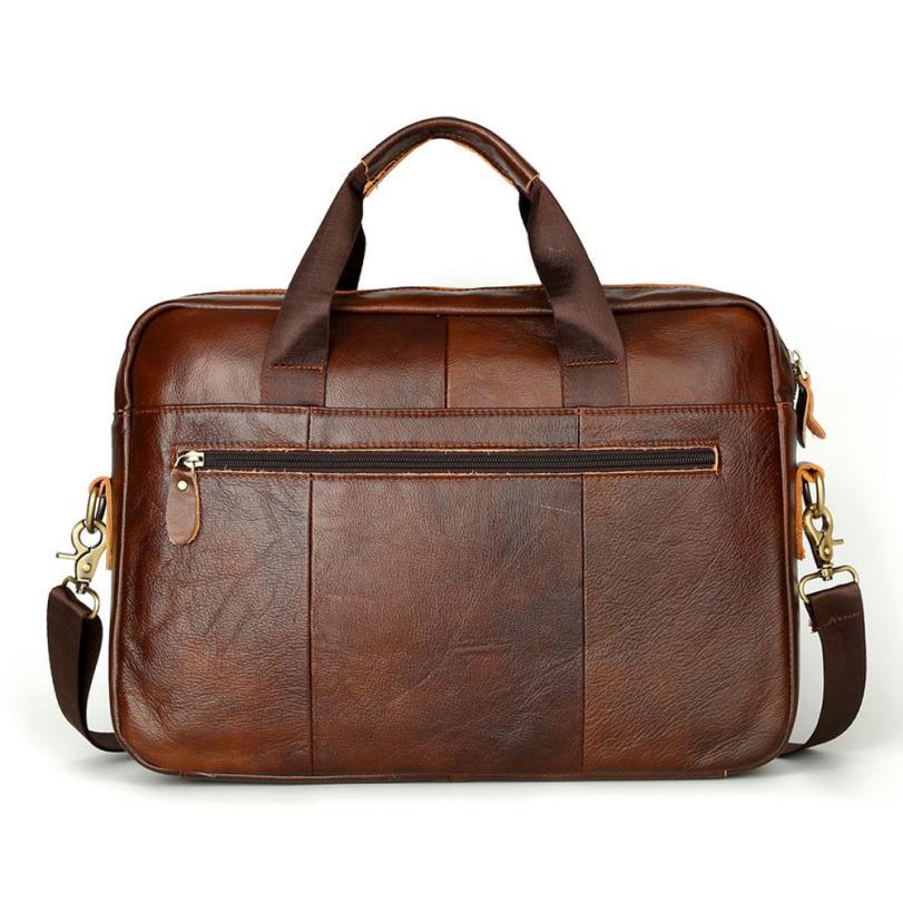 100% High Quality Men Briefcases Genuine Leather Handbag Vintage Laptop Briefcase Messenger Shoulder Bags Men's Bag цена