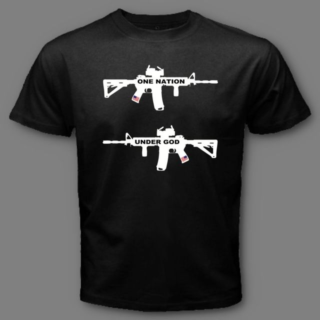 US $12 34 5% OFF|One Nation Under God Military Army Ar 15 Rifle Gun USA  Second Amendment T SHIRT-in T-Shirts from Men's Clothing on Aliexpress com  |