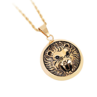Titanium Steel 18K Gold Plated Men S Lion Head Pendant Necklace Lion King Black Ruby Eyes