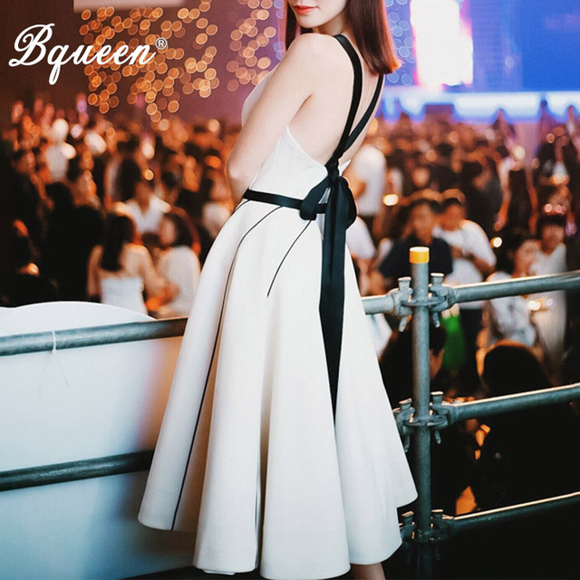 Bqueen Women's Casual  Dresses 2018 Slash Neck Solid Sleeveless Backless Knee-Length A-Line Dresses For Lady New Fashion