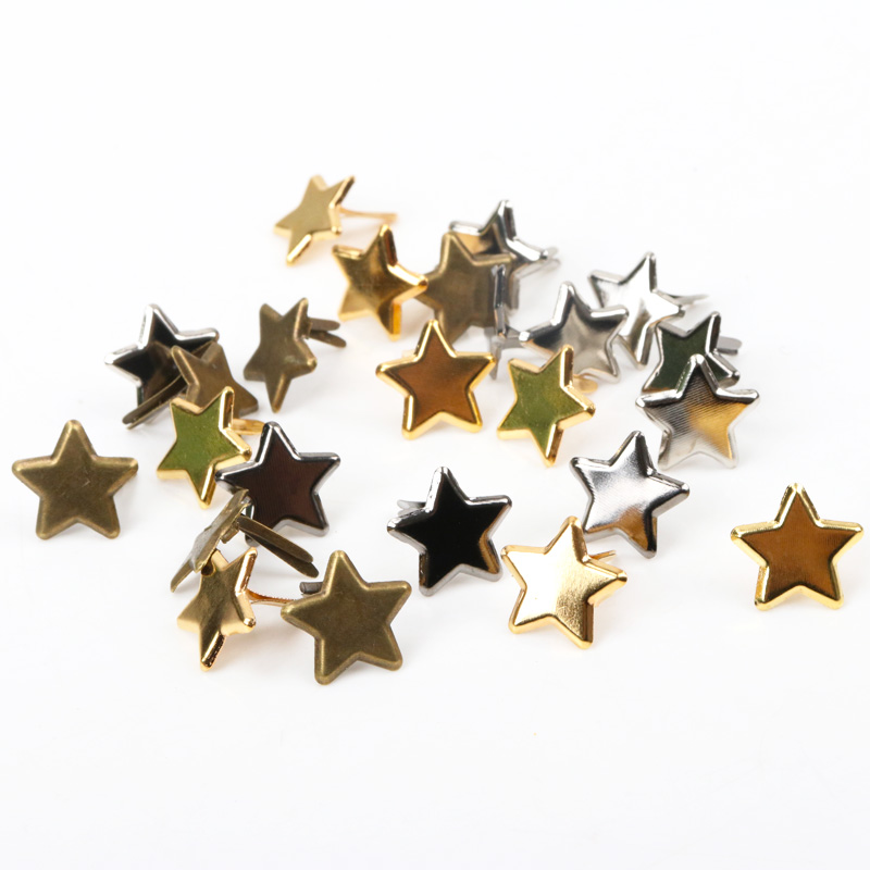 50pcs Mixed Metal Star Brad Studs Spikes Scrapbooking Embellishment Fastener Brads Crafts Pushpin Decoration Rivets 14mm