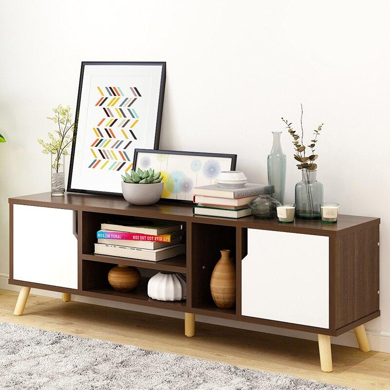 Salon en bois meuble TV en bois massif meuble de rangement moderne table à thé mode grain de bois extensible style chinois - 2