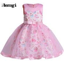 75d4b83ad8ba5 Berngi Için Yeni Pembe Renk Sevimli Yaz dondurma Baskı Elbise Çocuklar Kız  Doğum Günü Partisi çocuk
