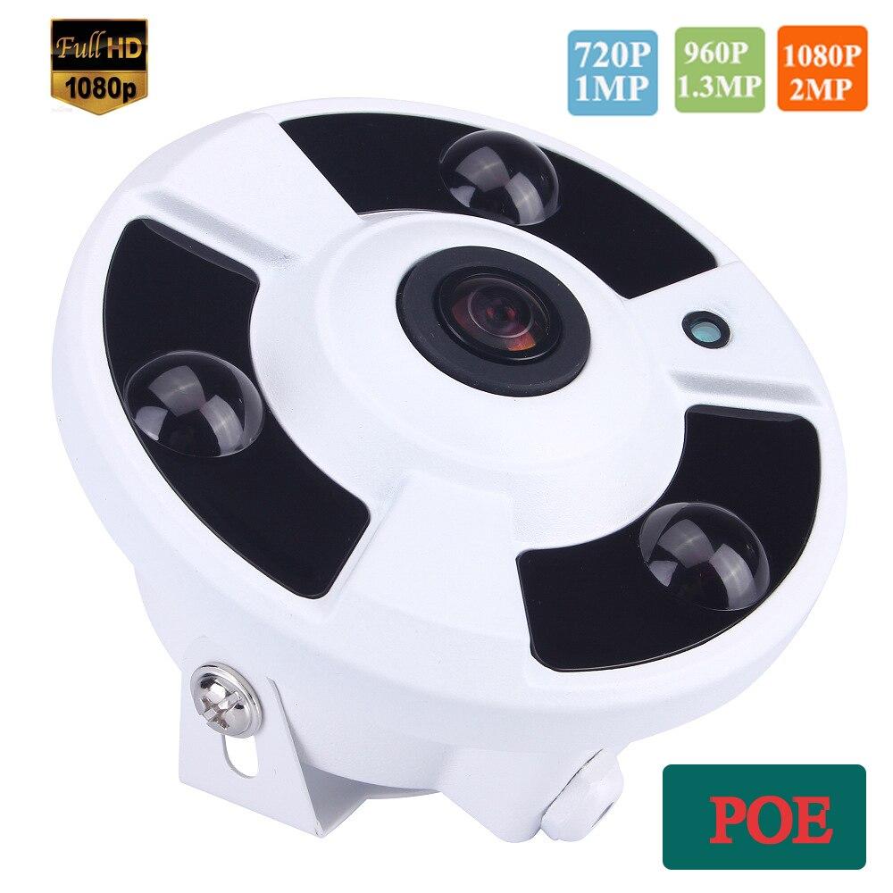 bilder für 48 V POE 720 P/960 P/1080 P Optional 5MP 1,7mm Objektiv Fischauge 3 stücke leistungsstarke Array Panorama Ip-kamera Weitwinkel POE Kamera
