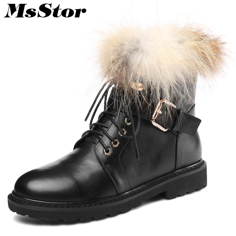 MsStor Women Boots Round Toe Square heel Ankle Boots Women Winter Shoes Low Heel Lace Up Buckle Zipper Fur Boots Shoes For Girl цена 2017