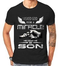 God Sent Me A Miracle My Son Family Fathers Day Jesus Christian Newborn Gift Tops T-Shirts 2019 Design Summer Man T Shirts(China)