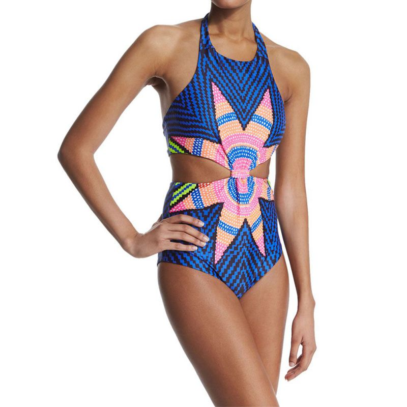 <font><b>One</b></font> <font><b>Piece</b></font> <font><b>Swimsuit</b></font> <font><b>2017</b></font> <font><b>Sexy</b></font> <font><b>Swimwear</b></font> <font><b>Women</b></font> Vintage Summer Beach Wear <font><b>Print</b></font> Monokini Bathing Suit image