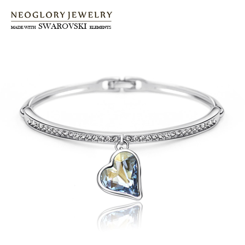 Neoglory Austria Crystal & Rhinestone Charm Bangle Alloy Plated Romantic Heart Design Glaring Style Bracelet For Classic trendy letter heart round rhinestone bracelet for women
