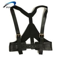 FUNTEKS Punk Faux Leather Body Bondage Belts Women Litchi Pattern Leather Suspender Female Adjustable Straps Suspenders