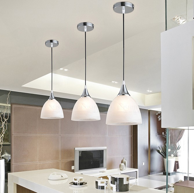 Free Shipping Modern White Variegated Glass Shade E27 Single Led Pendant Light Fixture For