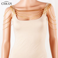 CHRAN Classic Statement Necklace for Women Gold Color Multilayer Chain Metal Shoulder Body Jewelry Chain