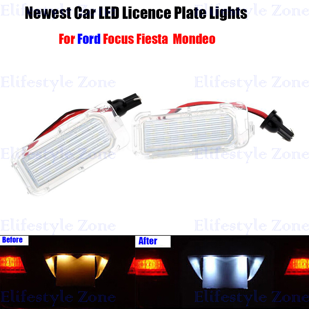 2 x LED Number License Plate Lamps OBC Error Free 18 LED For Ford Focus 5D Mondeo Fiesta 2 x led number license plate lamps obc error free 24 led for bmw e39 e80 e82 e90 e91 e92 e60 e61 e70 e71