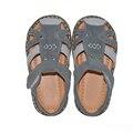 Niños sandalias de gamuza gris 2017 del verano boy calzado chaussure zapato menino de 2-5 años PU forro para Los Musulmanes soft baby boy zapatos