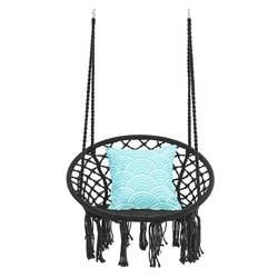 Hamaca redonda hamaca columpio silla colgante muebles de interior y exterior hamaca silla para jardín dormitorio niño adulto