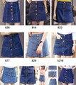 2016 Nuevo Estilo de Verano Hebilla de Mezclilla Versión Coreana de La Falda de Una Línea de Falda Paquete Cadera Falda de Cintura Alta Faldas de Mezclilla
