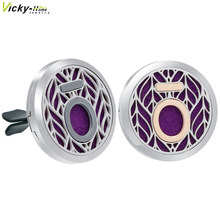 New Doterra Car Clip Vent Aromatherapy Locket Pendants Essential Oils Stainless Steel Diffuser Locket with Pads Drop Shipping(China)