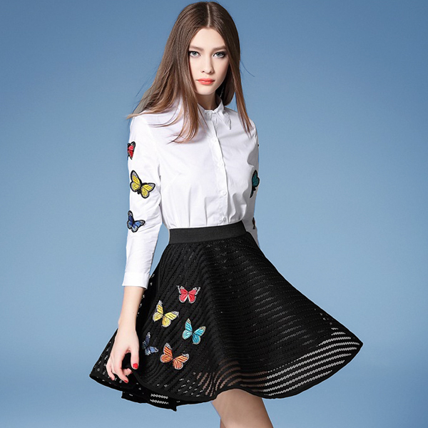2016 Новый Юбки Костюмы Вышивка Аппликации Красочные Бабочки Белые Рубашки И Бал Выросло Черная Юбка Комплект Одежды Saias NS243