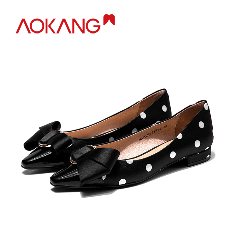 AOKANG women's flats loafers bownots dots shoes silkly ladies fashion spring summer bownot colors dress flats shoes footware - 4