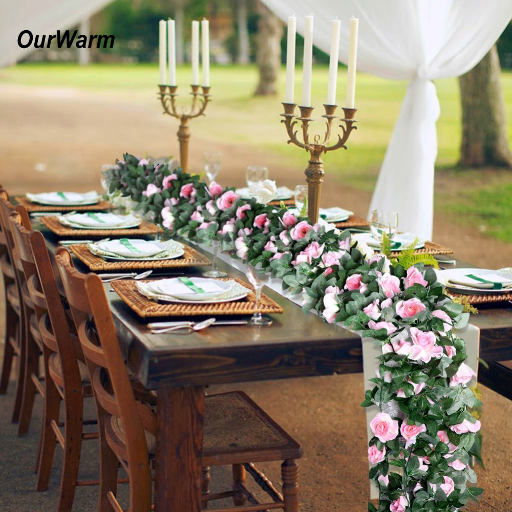 OurWarm Rustic Wedding Artificial Silk Rose Flowers Table Runner Hanging Flower String Wedding Birthday Party Decoration 230CM
