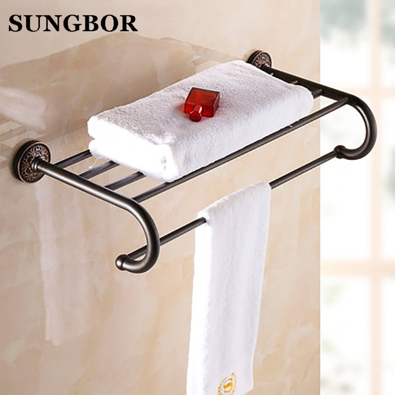 Luxury Bathroom Wall Mounted Brass Bath Towel Shelf Antique Style Towel Rack with Towel Bar Bathroom Accessory HF-5912H artistic wall mounted retro style bath towel shelf antique brass bathroom towel holder towel bar