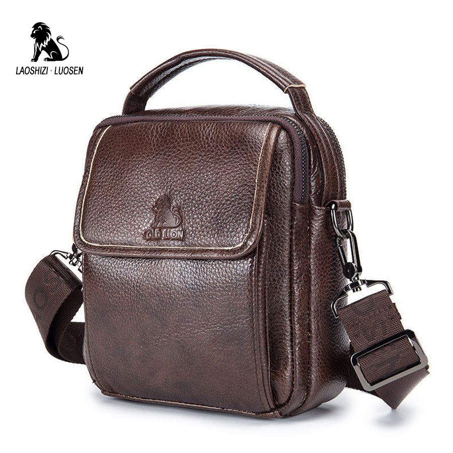 LAOSHIZI LUOSEN Genuine Leather Bag Mens Crossbody Bags Small Flap Casual Messenger Bag Men's Shoulder Bag High Quality 2018