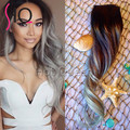 Ombre 1b/Gray Clip in Human Hair Extensions 100g/set Human Hair Clip In Extensions 7pcs/set Silver Remy Human Hair Clip In BY266