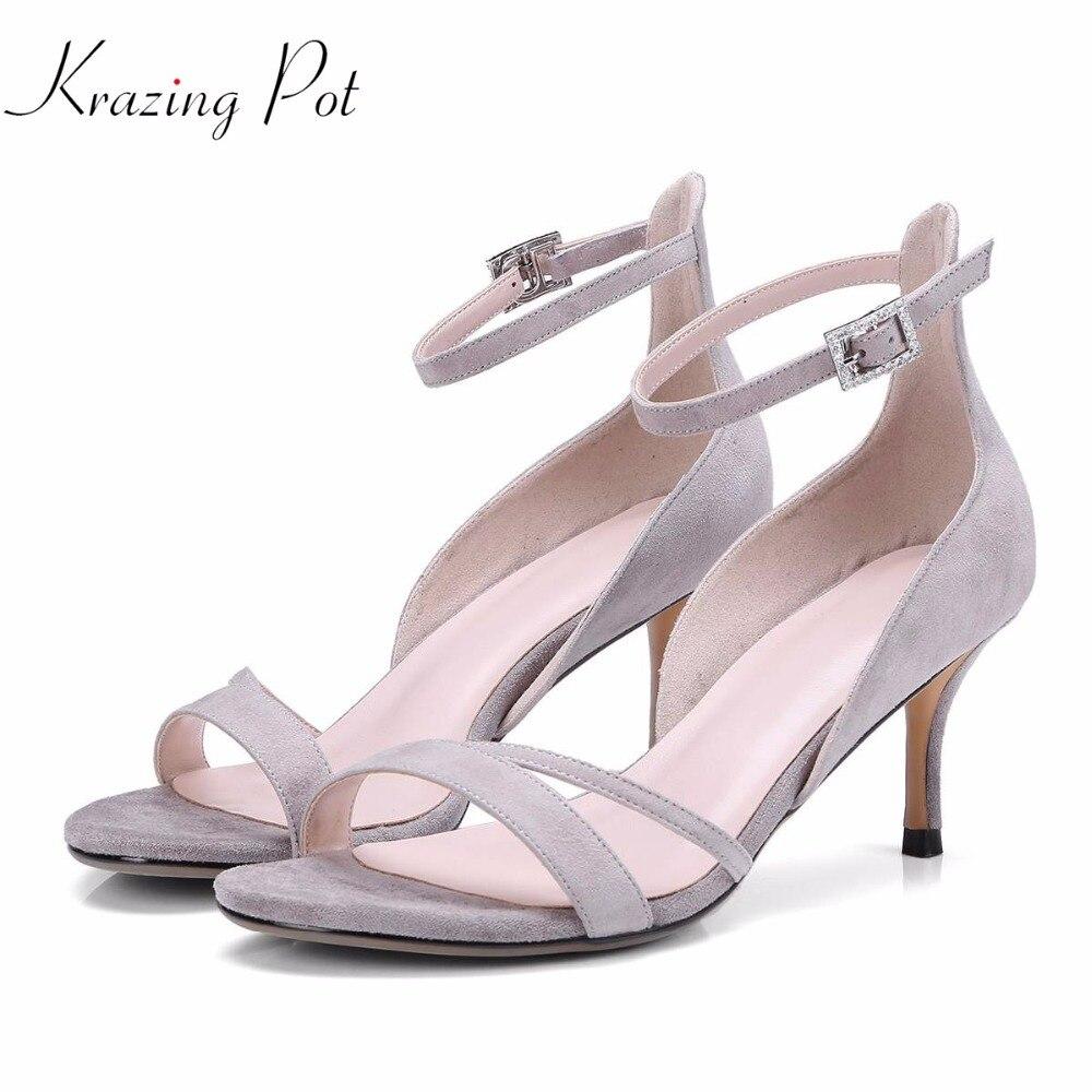 Krazing pot new arrival kid suede dating brand shoes stiletto high heels women sandals original design wedding causal shoes L66