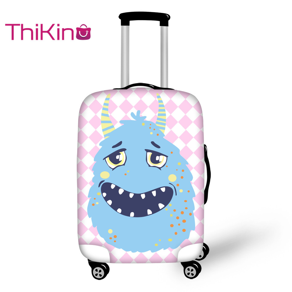 Thikin  Printing Monstar Travel Luggage Cover Candy Color School Trunk Suitcase Protective Cover Travel Bag Protector