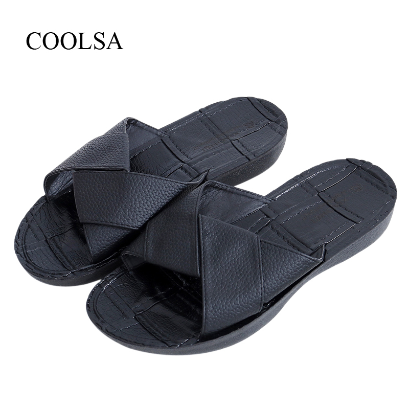 COOLSA New Arrival Men's Slippers Non-slip Wear-resistance Beach Slippers Leisure Shoes Men's Summer Solid PU Slippers Black