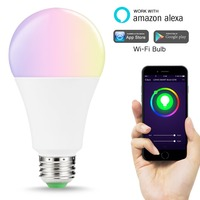 WiFi E27 Smart Light Bulbs 14W Equal to 100W LED Bulb RGB+Cool White Colour Changing Mood Light Works with Alexa and Google Home