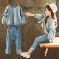 2019 Girls Clothing Sets Autumn Long Sleeve T shirt+Jeans Pants Clothes Suit Children's Fashion Suits Kids Set 6 8 10 Years