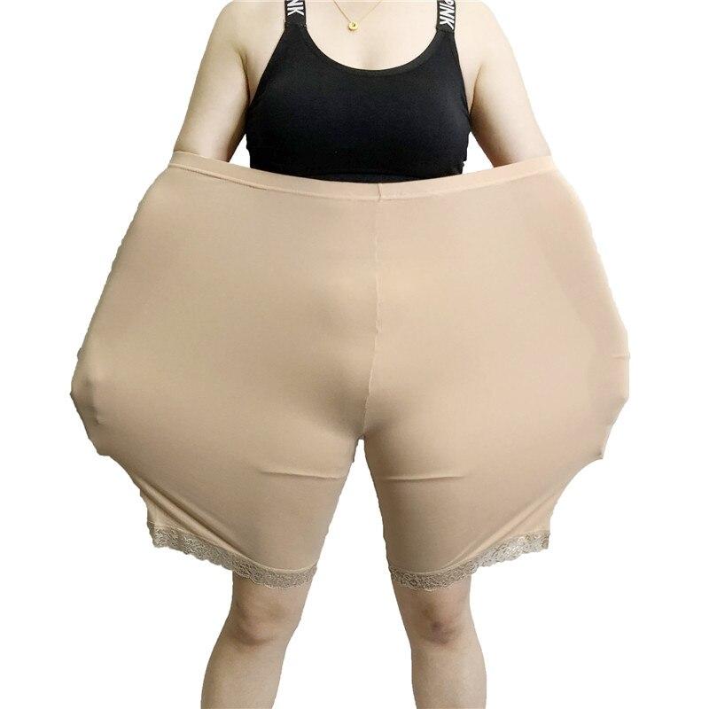 Summer Plus Size High Waist Short   leggings   Pants Women Elastic Abdomen Lace Large Fat MM Oversized Big Sizes Short