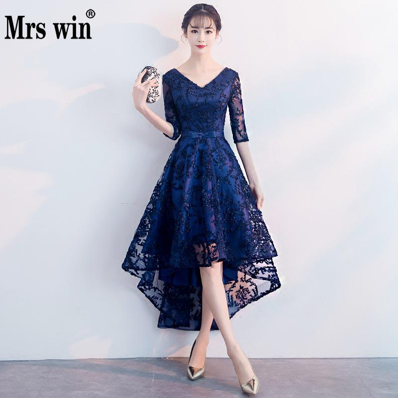 Mrs Win 2019 New Banquet Evening Dress Female Shinning Sexy V-neck Noble Elegant Party Prom Dress Dignified Atmosphere Dress L(China)