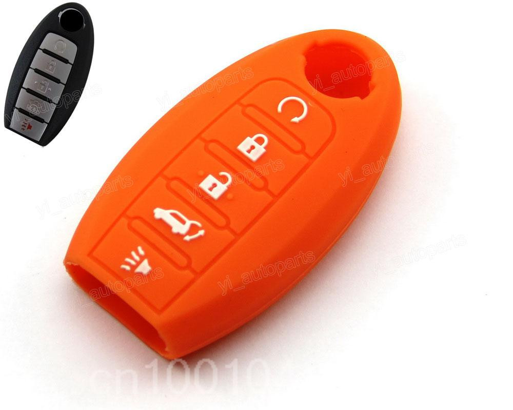 Orange Silicone Protective Case Cover Fit For Nissan Altima Maxima Pathfinder Remote Smart Key 5 Buttons 5BT