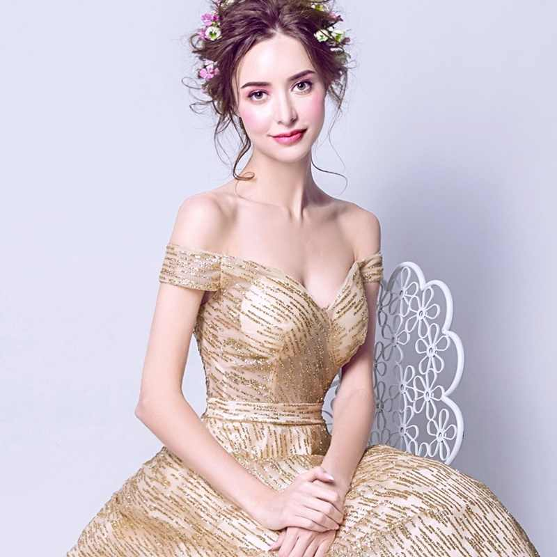זהב כדור שמלת נצנצים גאלה שמלות 2019 כבוי כתף פורמליות שמלת נשים נפוחות אלגנטיות שמלות נשף 2019 נשף TS309