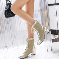 Dilalula Brand New Plus Size 34 47 Med Chunky Heels Summer Autumn Ankle Boots Ladies Lace Up Party Date Ankle Boots Silver Shoes