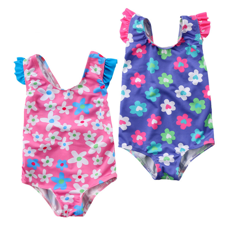 2018 Brand New Toddler Infant Child Kids Girls Baby Flower Stripe Swimming Floral Swimwear Costume 6M-4T New One Pieses ...