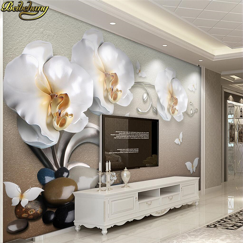 Beibehang Papel De Parede Custom Photo Wallpaper Mural 3d Luxury Golden Jewelry Phalaenopsis TV Backdrop Wallpaper For Walls 3 D